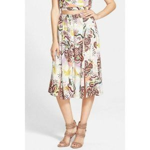 ASTR Button Front Midi Skirt with Slits Floral
